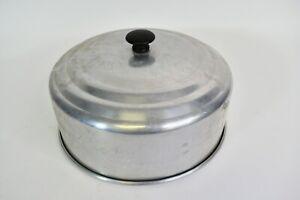 Vintage Silver Aluminum Cake Dessert Cover With Black Knob Handle Food Storage