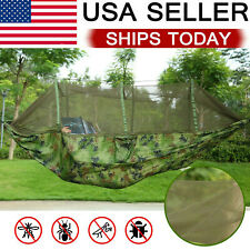 Double Camping Hammock with Mosquito Net Hanging Bed Swing Chair Outdoor Hiking