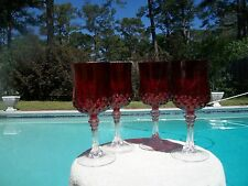 SET OF 4 ELEGANT GLASS CRISTAL D'ARQUES RUBY LONGCHAMP GOBLETS 25TH ANNIVERSARY