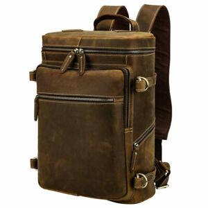 "Men Full Grain Leather Backpack 15"" Laptop Bag Travel Daypack School Bag Satchel"