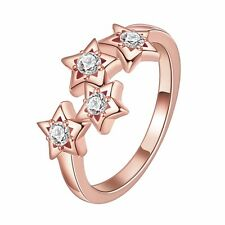 18K Rose Gold GP Stars SWAROVSKI Crystal Solid Wedding Engagement Ring Size 8