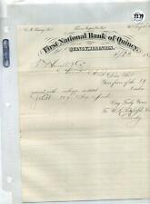 Quincy Illinois 1870 First National Bank Document