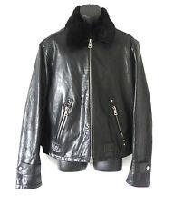 Sixty Leather Jacket Black Removable Fur Collar 2Ways Zip Size XL