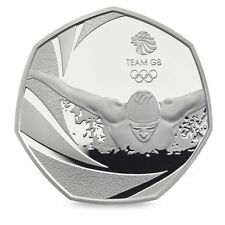 Olympic Team GB Swimming 50p Fifty Pence Coin - 2016