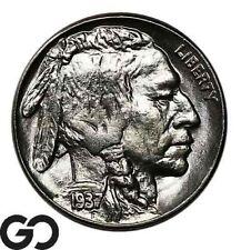 1937 Buffalo Nickel, Sharp Solid Gem BU++