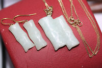 "Vintage Set 28CT Jade Bamboo 14K Earrings 1"" Pendant 10K Solid Gold Necklace 18"""