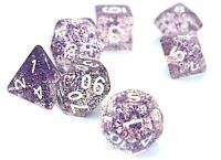 dice4friends RPG 7 Würfel Set Poly Resin DND Rollenspiel Confetti lila Glitzer