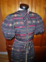 Vtg 70s ALBERT NIPON Stripe Ikat Pleat Silk Secretary Bow Cocktail Shirt DRESS
