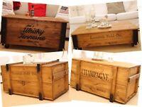 Caja de madera Shabby Chic carga VINTAGE arcón transporte mesita baja MARRÓN