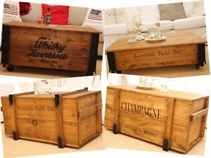 Coffee Table Chest Wooden Box Shabby Chic Cargo Box Vintage Table Furniture