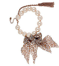 "Betsey Johnson ""Pinktina"" Faux Pearl and Leopard Ribbon Bow Necklace  NWT"