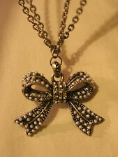 Vintage Marcasite-Look SimPearl Rhinetone Bow Double Chains Pendant Necklace