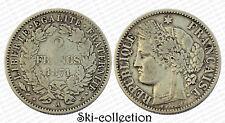 """2 Francs 1871 A (Paris) Cérès. """"A"""" normal. France. Argent/ Silver"""