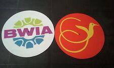 pair of vintage airline turntable cloth slip mats BWIA AIR JAMAICA ska reggae DJ