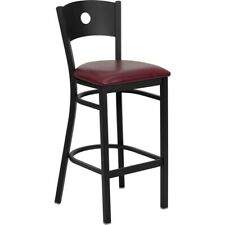 Flash Metal Restaurant Bar Stool, Black, Burgundy - XU-DG-60120-CIR-BAR-BURV-GG