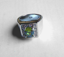 Peridot Cocktail Ring White Quartz Accents .925 Sterling Silver Filled Size 7