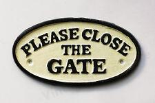 Si prega di chiudere il cancello sign in ghisa 17 cm tradizionale placca muro recinzione di montaggio