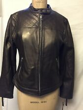 Margaret Godfrey Leather Motorcycle Jacket 10 Brown NWT