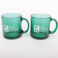 2 First Farmers Bank & Trust Green Glass Coffee Mugs Tea Cups