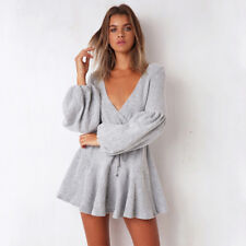 Women Autumn Sexy Mini Dress V Neck Bandage Cotton Puff Sleeve Party Cocktail
