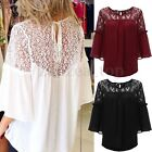 Zanzea Women Long Sleeve Floral Lace Crochet Splice Chiffon Blouse Tops Shirts