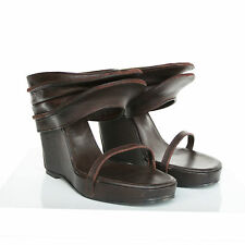 RICK OWENS $1,250 brown leather Rhino Sabot wedge heel sandals shoes 41-ITL NEW