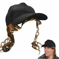 Adult Trucker Redneck Cap Hat with Mullet Hair Wig Fancy Dress Costume Accessory