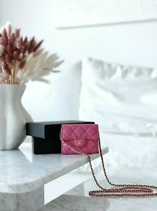 CHANEL 2021 Quilted Card Holder on Chain