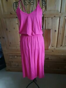 Warehouse Ladies Hot Pink Dress Size 10 Cotton Sundress Sleeveless Bright