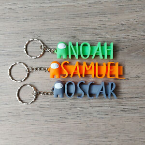 Among Us Personalised Keyring, KeyChain School Bag Name Tag 3D Kids Gift Colours