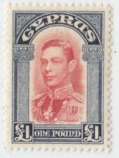 CYPRUS 1938 ISSUE 1 POUND UNUSED STAMP SCOTT 155 = SG.163
