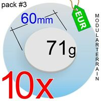 10x 2mm CLEAR ACRYLIC 60mm ROUND BASE REDONDA TRANSPARENT SOCLE ROND WAR HAMMER