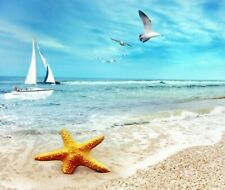 STARFISH SEAGULL SAIL BEACH BOAT  COMPUTER MOUSE PAD  FABRIC/ RUBBER BACKED
