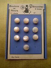 10 BOUTONS ANCIENS BOULES   EN NACRE   SUR CARTE DIAMETRE  0,8 CM