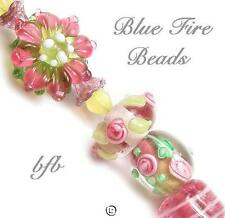 "BFB-Premium Handmade Lampwork & Czech Glass Beads ""SUMMERTIME BOUQUET* 15 Beads"