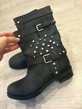 BN Ladies Ralph Lauren Collection Leather Studded Biker Boots - Size US 8