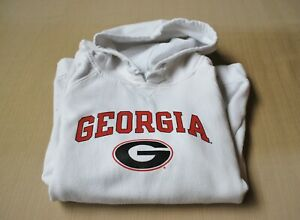 Womens UGA Georgia Bulldog Hoodie white Jr M Medium sweatshirt