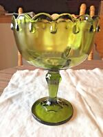 """Indiana Glass Olive Green Pedestal Compote Candy Dish w/ Scallop Edge 7"""" Tall"""