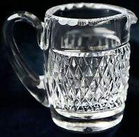 Vintage Retro Heavy Diamond Cut Creamer Milk Jug Pitcher 570g 150ml