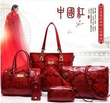 Leather Women Handbag Tote Purse Satchel 6Pcs body Messenger Shoulder Bag