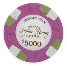 "25 ct Pink $5000 5k Five Thousand Dollars ""Monaco Club"" Series 13.5g Poker Chips"