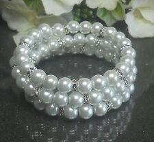 Memory Wire Armband Spiralarmband Glas Perlen weiß Strass Rondelle