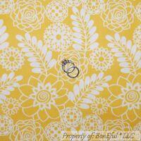 BonEful Fabric FQ Cotton Quilt Yellow Gold White Toile Flower Garden Leaf Retro