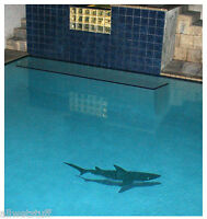 "Mosaic Shark w/ Shadow 61""long for Swimming Pool Deck Wall Bar Top FREE SHIPPING"