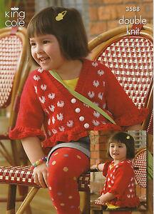 King Cole Glitz DK Children's Cardigan Knitting Pattern Kids 3588