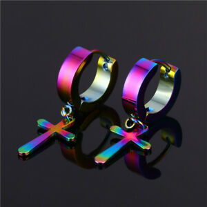 Punk Men's Colorful Stainless Steel Charm Cross Hoop Earrings Jewelry