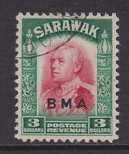 SARAWAK 1945 $3 CARMINE & GREEN SG 142 FINE USED.