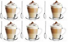 SALE! Multiset 6 Latte Macchiato Gläser 360ml und 6 Edelstahl-Löffel + 6 Platten