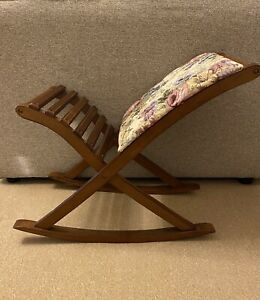 Vintage Tapestry Wooden Rocking Foot Stool Foot Rest With Floral Design Padding