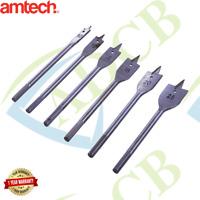 Flat Wood Drill Bit Set 6 Pc Pro Quality Carbon Hole Cutter Borer Amtech F1400